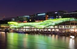 巴黎,法国-时尚和设计城市,在塞纳河的银行 五颜六色的原始的绿色大厦 免版税库存照片