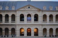 巴黎,法国- 02/08/2015:军队博物馆'荣军院的'正面图 免版税图库摄影