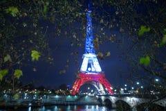 巴黎 法国 2015年11月24日:埃佛尔铁塔被照亮机智 免版税图库摄影