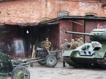 巷战第二次世界大战的重建 免版税图库摄影