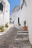 巷道。 Ostuni。 普利亚。 意大利。 库存照片