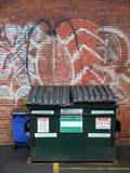 巷道城市大型垃圾桶 库存图片