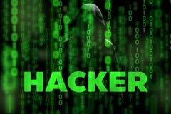 戴头巾人计算机黑客剪影以二进制数据屏幕和网络安全命名矩阵题材 免版税库存照片