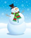 戴围巾和高顶丝质礼帽的雪人 免版税库存图片