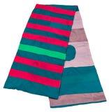 围巾从绿色缝了,桃红色,蓝色,红色小条 图库摄影