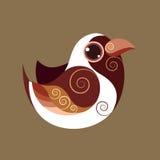 戴头巾oride鸟逗人喜爱的抽象史前颜色 免版税库存照片