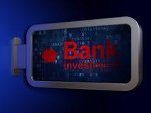 货币概念:银行投资和钱箱在广告牌背景 库存照片