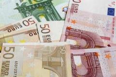 20 50 100 500货币欧洲欧洲 各种各样的欧洲钞票背景 免版税库存照片