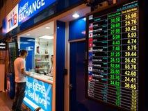 货币汇率LED显示板在机场 免版税图库摄影