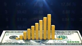 货币股票的增长率在股市上的 向量例证