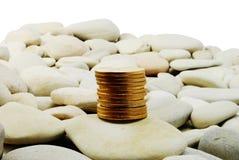 币金查出的石头 免版税库存图片