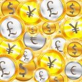 货币,硬币-美元-欧元-磅-日元 也corel凹道例证向量 库存图片