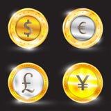 货币-美元-欧元-英镑-日元 也corel凹道例证向量 库存照片