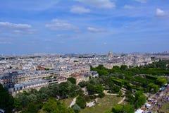 巴黎市中心全景在夏天,法国 库存照片