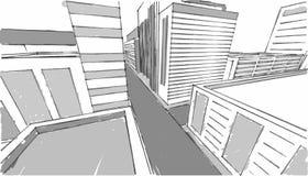 市中心剪影灰色白色 免版税图库摄影