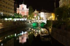 市中心在晚上 库存照片