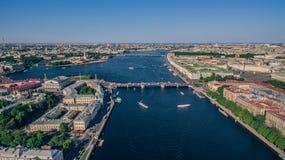 市中心鸟瞰图在圣彼德堡 免版税库存图片