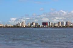 市中心,阿拉卡茹, Sergipe,巴西全景  免版税库存图片