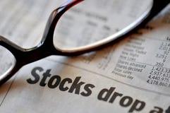 市价跌落股票 库存照片