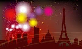 巴黎市剪影,庆祝,烟花 免版税图库摄影
