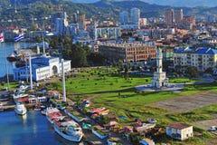 巴统市口岸的顶视图  免版税图库摄影