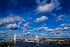 市圣彼德堡,城市的美丽的景色从一个异常的角度的 免版税库存照片