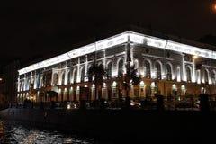 市圣彼德堡,夜城市 图库摄影