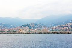 市圣雷莫,意大利,从海的看法 库存照片