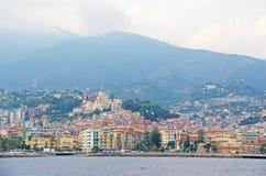 市圣雷莫,意大利,从海的看法 图库摄影