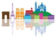 巴黎市地平线剪影彩色插图 免版税库存照片
