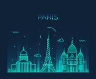 巴黎市地平线时髦传染媒介线艺术 皇族释放例证