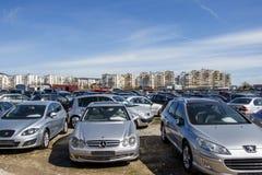 市场二手汽车保加利亚瓦尔纳11 03 2018年 库存照片