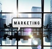 市场分析烙记的广告企业概念 库存图片