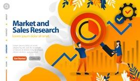 市场和销售研究、目标市场和销售,寻找赢利传染媒介例证概念可以是用途为,登陆的页,templ 向量例证