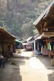 市场在一个地方村庄失去作用 免版税库存照片