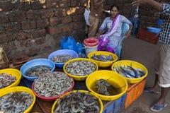 市场在卖和买在冰袋的果阿鲜鱼 图库摄影