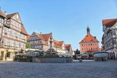 市场在历史的城市绍尔恩多尔夫,德国 免版税库存照片