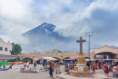 市场在圣玛丽亚德赫苏斯在危地马拉 库存图片