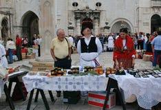 市场在杜布罗夫尼克,克罗地亚 库存照片