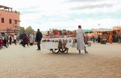 市场在马拉喀什,摩洛哥 库存照片