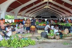 市场在维拉港在瓦努阿图,密克罗尼西亚,南太平洋 免版税图库摄影