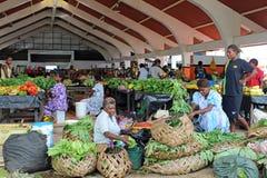 市场在维拉港在瓦努阿图,密克罗尼西亚,南太平洋 图库摄影