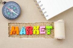 市场字母表和指南针 库存图片
