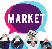 市场战略计划营销视觉概念 免版税图库摄影