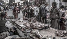 市场摊位- Barkhor在拉萨-西藏 免版税库存图片