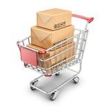 市场有纸板箱的购物车。3D象  免版税库存图片