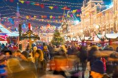 市场的看法在克里姆林宫附近的莫斯科和胶的 免版税库存图片
