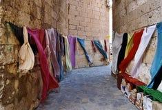 市场纺织品 库存照片