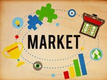 市场计划广告想法全球性成功烙记的概念 免版税库存照片