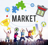 市场计划广告想法全球性成功烙记的概念 库存照片